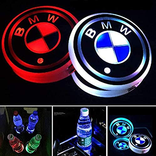DIY1234 2 Pack LED Cup Holder Lights, Car Coaster for BMW with 7 Colors Changing USB Charging Mat, Luminescent Cup Pad Interior Atmosphere Lamp Decoration Light