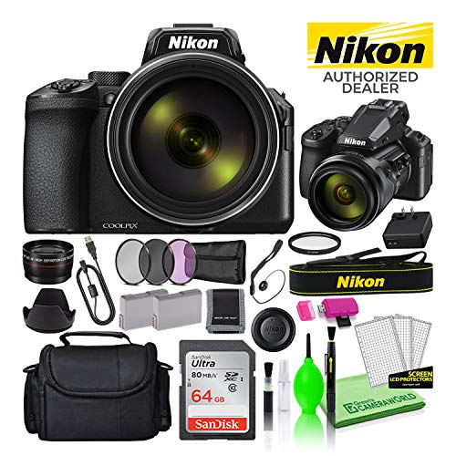 Nikon COOLPIX P950 16MP 83x Optical Zoom Digital Camera (26532) USA Model Deluxe Bundle Kit -Includes- Sandisk 64GB SD Card + Large Camera Bag + Filter Kit + Spare Battery + Telephoto Lens + More