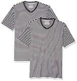 Amazon Essentials Men's Slim-Fit Short-Sleeve Stripe V-Neck T-Shirts, Black/White, Small