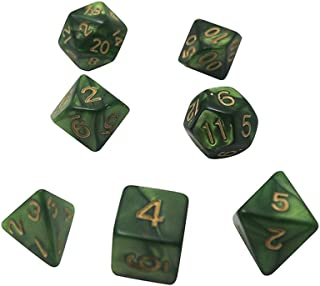 多面体サイコロ 7個 ダイス クトゥルフ神話TRPG カードゲーム 知育 算数 (しんりょく)
