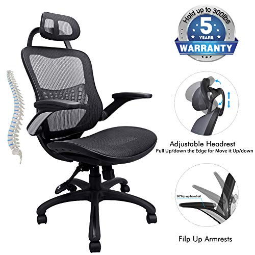 Ergonomic Office Chair, 5 Years Warrenty Weight Support 300Ibs,High Back Mesh Office Chairs with Adjustable Headrest,Backrest and Flip-up Armrests,Executive Office Chair for Height Under 6' (M-Black)