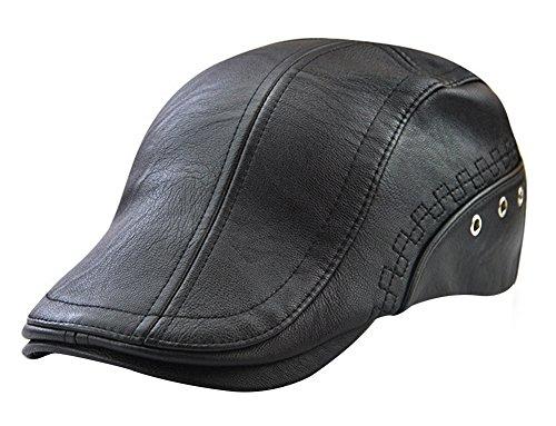 Men's Leather Newsboy Cap Ivy Gatsby Flat Golf Driving Hunting Hat Black