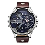CAGARNY Original Men's Sports Leather Strap 2 dials can Work Quartz Date Watch 6820 Silver Brown