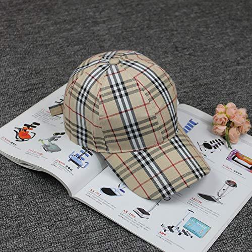 mlpnko Sport-Sonnenhut der Karierten Baseballmütze-Damen große Kappe im Freien beiläufiger gebogener Hut beige justierbar