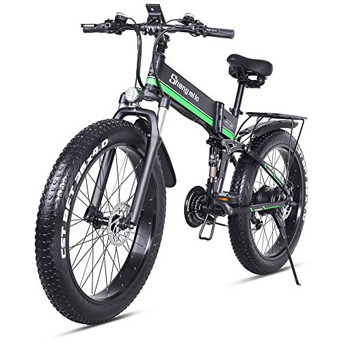 BXZ 1000W Fat Electric Bike 48V Mens Mountain E Bike 21 Speeds 26 inch Fat Tire Road Bicycle Snow Bike Pedals with Hydraulic Disc Brakes and Full Suspension Fork (Removable Lithium Battery),Green