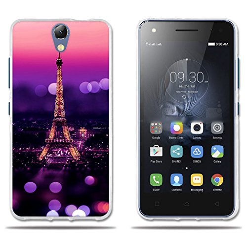 FUBAODA für Lenovo Vibe S1 Lite Hülle, [Tower Night] Transparent Silicon Clear TPU Slim Fit Shockproof Flexible Ultra Thin Lightest Easy Grip Durable Flex für Lenovo Vibe S1 Lite