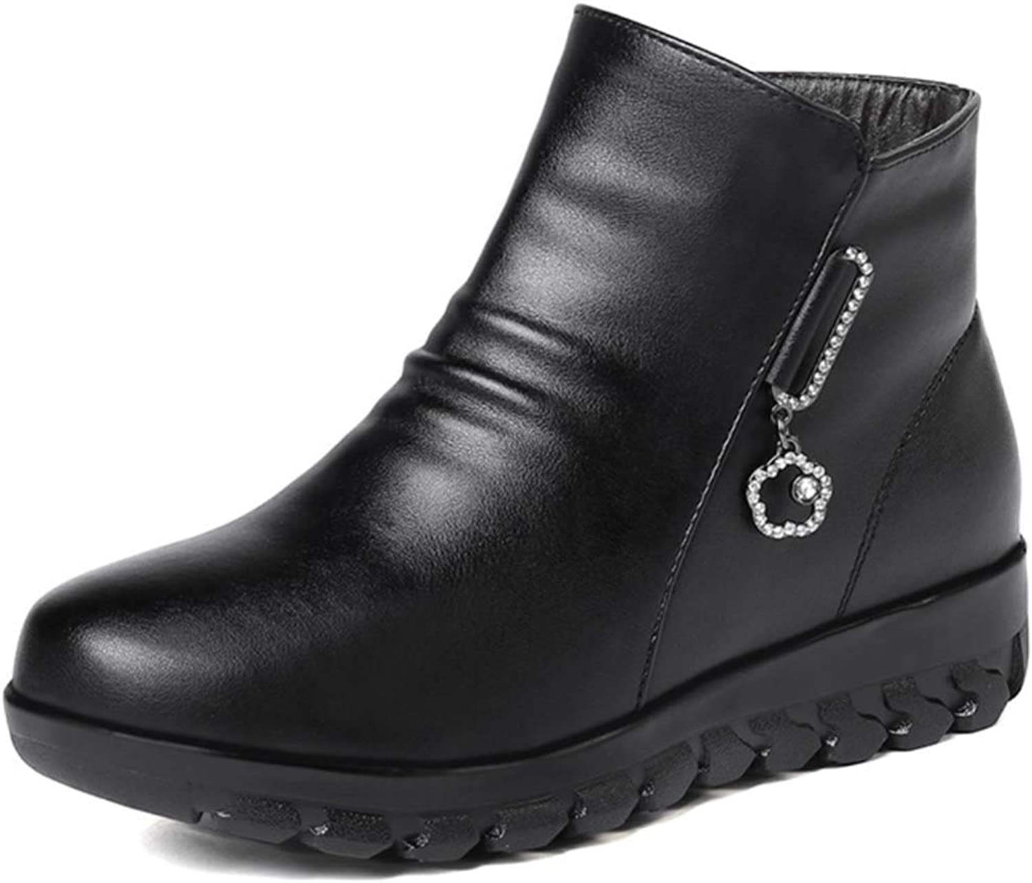 Shiney Women's Leather Boots Warm Plus Velvet Wool Cotton shoes Round Head