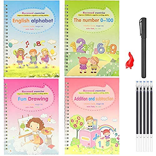 4pcs Magic Practice Copybook for Kids - The Print Handwiriting Workbook-Reusable Writing Practice Book (Alphabet Book with Pen) (Style Two)