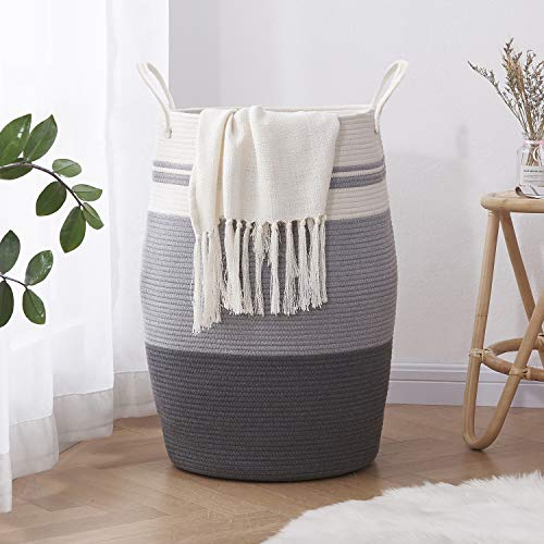 """OIAHOMY Laundry Hamper Woven Cotton Rope Large Clothes Hamper 25.6"""" Height Tall Laundry Basket with Extended Cotton Handles for Storage Clothes Toys in Bedroom, Bathroom, Foldable (Light Grey)"""