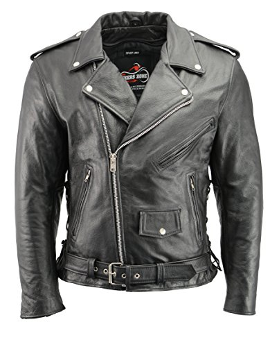 Men's Leather Motorcycle Jacket with CE Certified Armor | Premium Natural Buffalo Leather | 2 Concealed Carry Gun Pockets | Adjustable Side Lace Biker Jacket with Patch Access Lining (Black, 2XL)