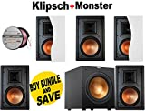 5 Klipsch R-3650-W II In-Wall Speaker - Each (White) + Klipsch R-12SW Powerful 12' 400 watts Subwoofer + Monster - Platinum XP Clear Jacket MKIII 50' Compact Speaker Cable - Clear/Copper Bundle