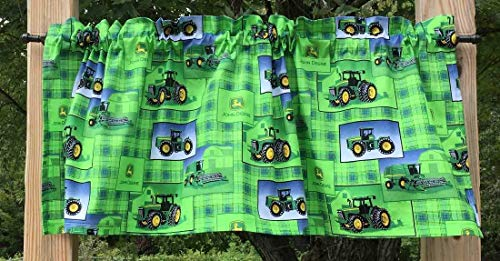 Handcrafted Valance Sewn From John Deere Tractor Green Plaid Fabric