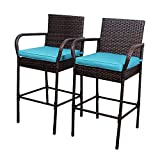 Sundale Outdoor 2 Pcs All Weather Patio Furniture Set Brown Wicker Barstool with Blue Cushions, Back Support and Armrest, Blue