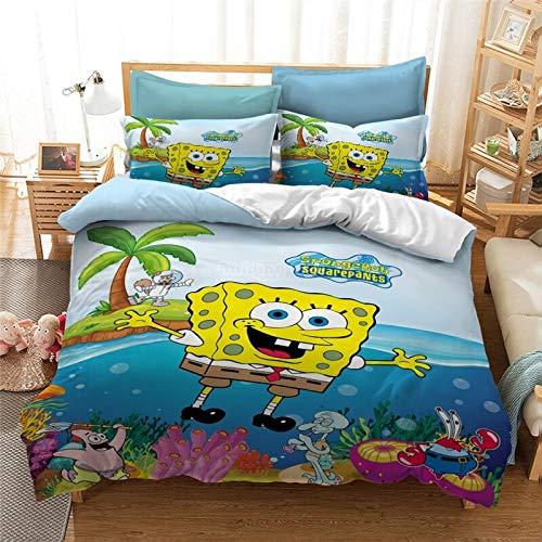 Xinxin 3D Cartoon Spongebob Bettwäsche Set Polyester Baumwolle 3D Bettbezug-Set Bettwäsche Twin Voll Königin König Bettwäsche Au Eu Uns Größe (1,135x200cm)