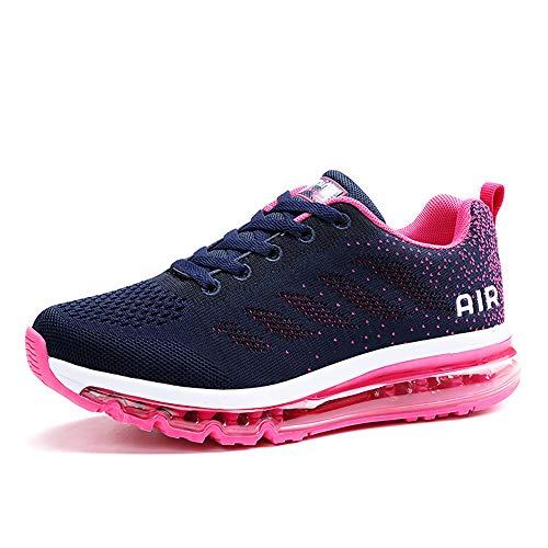 frysen Herren Damen Sportschuhe Laufschuhe mit Luftpolster Turnschuhe Profilsohle Sneakers Leichte Schuhe Blue Plum 39