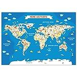 kizibi® Weltkarte Poster Kinderzimmer, Kinder Weltkarte,