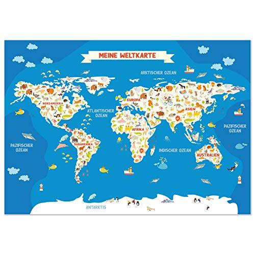 kizibi® Weltkarte für Kinder, DIN A2 Kinderzimmer Poster mit Kontinenten zum Lernen, Lernposter Weltkarte auf deutsch mit Tieren Kindergarten, Vorschule oder Grundschule