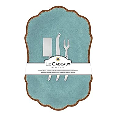 Le Cadeaux Melamine Antiqua Turquoise Large Cheese Board with Utensils