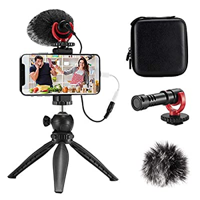 FULAIM Smartphone Video Microphone Kit, Shotgun Mic Rig Video Recording Accessories w/Phone Holder Tripod Compatible with iPhone Xs Max 11 Pro 8 Plus 7 Samsung Huawei etc. for TikTok YouTube Vlogging from FULAIM
