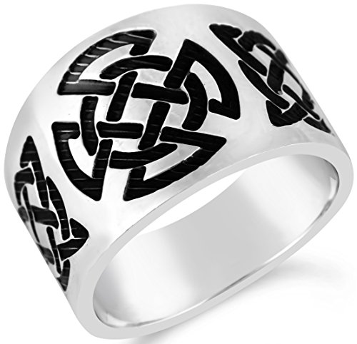 Celtic Collection Mens Oxidized Celtic Cigar Band Ring Size 11