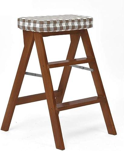 Klappstuhl Leiter Hocker Holz Two-in-one braun Multifunktions Einfache Haushaltsküche Multi-Farbe 54  42  65cm MUMUJIN (Farbe   Plaid)