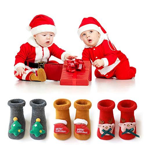 MMTX Antirutschsocken Baby Socken, 3 Paare Weihnachts Socke Kinder Anti Rutsch Socken Stricken Söckchen Baby Stoppersocken für 0-36 Monate Alte Neugeborene Jungen Mädchen (XS)