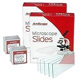 Amscope 144pre-cleaned Blank Microscope Slides and 20022x 22mm quadrato di vetro