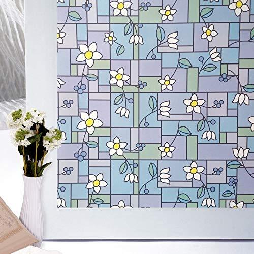 LMKJ Etiqueta autoadhesiva para Ventana Flor Blanca decoración de protección de privacidad película de Vidrio Impermeable, película de decoración del hogar de privacidad A101 40x100cm