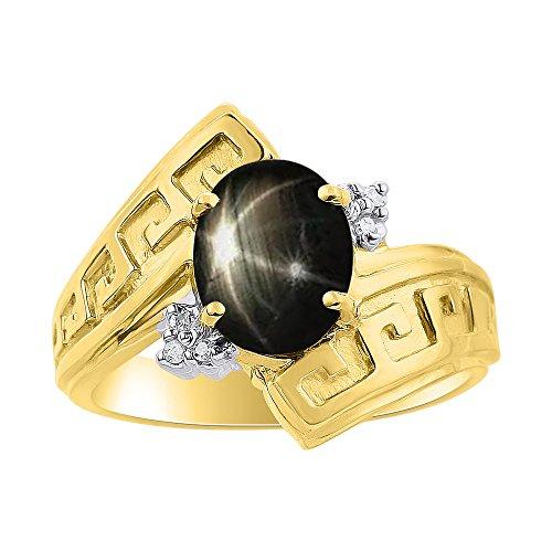 RYLOS Anillos para mujer de oro amarillo de 14 quilates, anillo de zafiro con estrella negra, diseño de llave griega, anillo de piedra de 9 x 7 mm, joyería de piedra de color para mujer