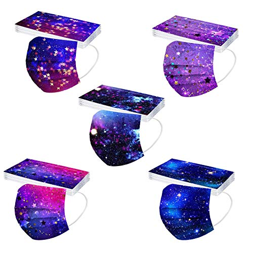 Koippimel 50Pcs, Galaxy Printed Disposable_Masks for Women Men, Colorful Tie-Dye Breathable Face_Mask, 3-Layers High Filtration Non-Woven for Adults Full Protection, 1201 Style_046