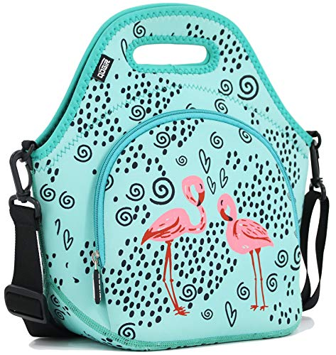 """QOGiR Insulated Neoprene Lunch Bag Tote with Zipper Pocket & Strap - Large 12' x 12' x 6.5' inch(Fits Containers up to 8'Lx7""""Hx6'W) ~ Flamingo"""