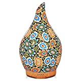 Porseme 280ml Colorful Essential Oil Diffuser, Aromatherapy Ultrasonic Humidifier - Handmade Glass, BPA Free, 7 Color LED, Auto Shut-Off, Timer Setting