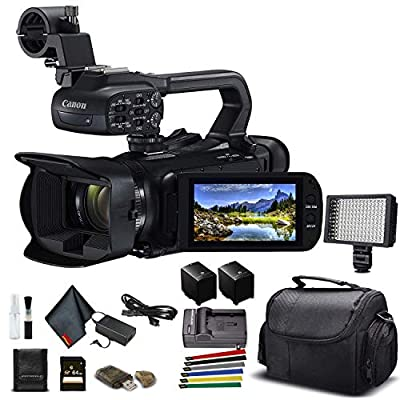 Canon XA45 Professional UHD 4K Camcorder (3665C002) W/Extra Battery, Soft Padded Bag, 64GB Memory Card, LED Light, and More Base Bundle (Renewed) from Canon