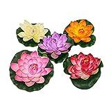 U/K Pulabo - Flor de loto artificial flotante de plástico para acuario, multicolor, 5 unidades, duradero y práctico