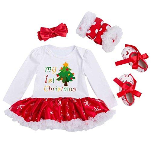 Vine Bambina Manica Lunga Gonna Pagliaccetto Natale costume della Santa del partito del vestito (0-18 Mesi)