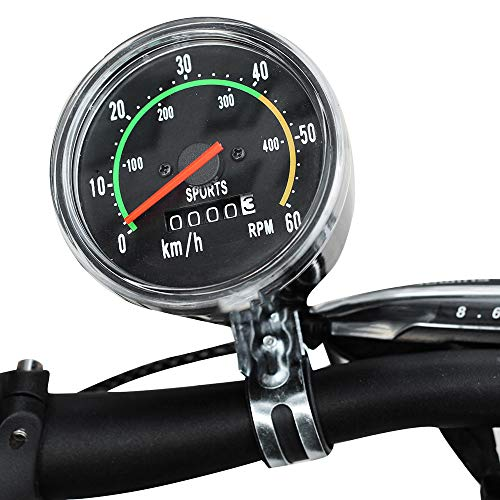 funchic Bicycle Speedometer Odometer, Classical Bicycle Computer Bike Mechanical Mountain Cycling Round Meter Gauges Stopwatch Waterproof Riding Equipment for Biking Cycling Accessories