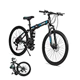 AOA POWER 26 inch Folding Mountain Bikes for Adults and Teens, 21 Speed High Carbon Steel Frame Easy Folding City Bicycle, Dual Disc Brakes Full Suspension Non-Slip (Black)