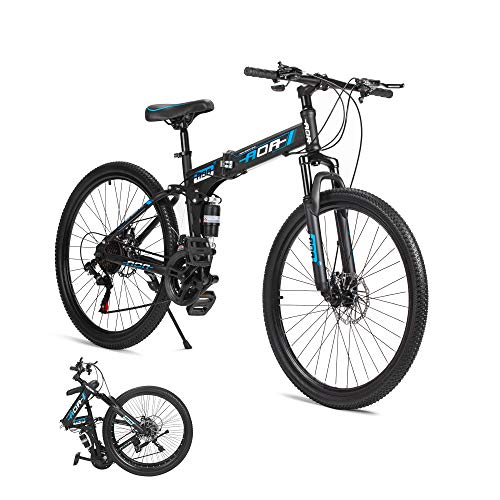 AOA POWER Folding Mountain Bikes 26 inches with Front Suspension Fork,21 Speed,Mechanical Disc...