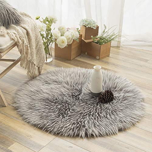 Ashler Faux Fur Rug Soft Faux Peacock Fluffy Rugs Luxurious Carpet Rugs Area Rug for Bedroom, Living Room Carpet Grey- 3 x 3 Feet Round
