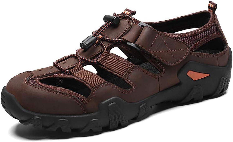 Sandals Men's Outdoor Leather Summer, Trekking Walking shoes Outdoor Sandals Velcro Closure Beach Walking Sandals 38-44