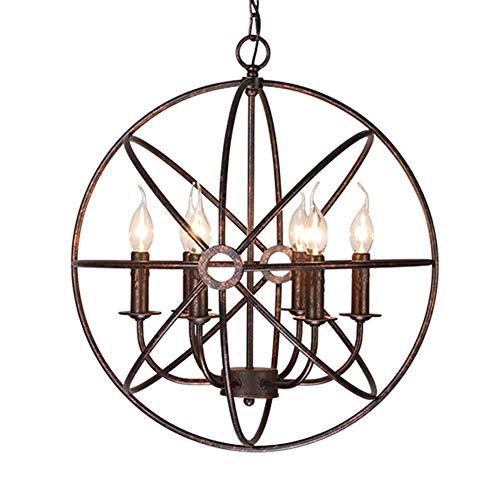 JYDQM Lámpara Colgante geométrica Industrial Moderna de Metal Forjado, Cadena Ajustable,