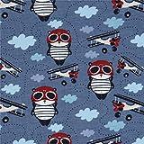 Blauer Stoff mit Pandapiloten und Flugzeugen von Stof