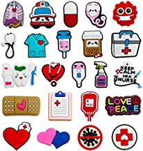 kinearcharms 21pcs PVC Nurse Shoe Charms Different Shapes Medical Combination Stethoscope Syringe Pill Heart Shoe Accesooties for Shoe & Bracelet Wristband Party Favor