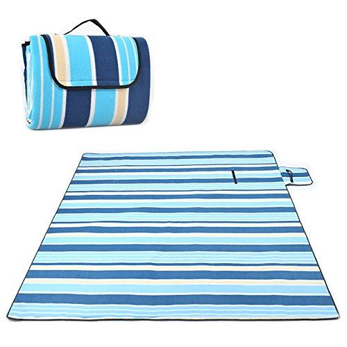 Molbory Picknickdecke Outdoor 200x200cm XXL wasserdicht, wärmeisoliert & weich Stranddecke kariert mit Tragegriff Outdoordecke, color-01