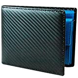 TLAGE[Amazon限定ブランド] 財布 メンズ 二つ折り カーボンレザー 牛革 小銭入れ カード6枚 オールインワン (Blue)