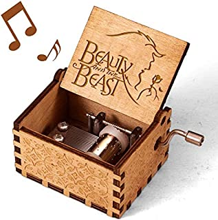Imncya Beauty and The Beast Engraved Wooden Music Boxes, Hand Crank Antique Laser Engraved Vintage Musical Classic Gifts for Home Decoration,Crafts,Toys