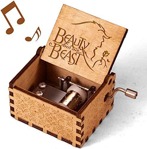 Zongteng Cajas de música de madera para llevar, manivela antigua grabada con láser, regalos clásicos musicales clásicos para decoración del hogar, manualidades, juguetes (Bella y la Bestia)