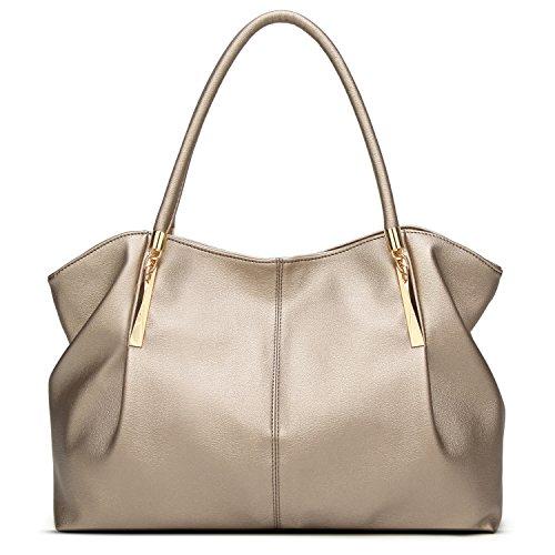 Forestfish PU Leather Ladies Satchel Tote Bag Shoulder Bags Handbags for Women, Gold