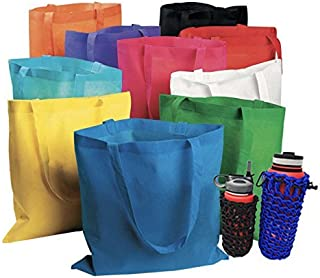 "50 Bulk Large Tote Bag Mega Pack - 15"" x 16"" Reusable Shopping Bags (Multicolor) (Multi)"