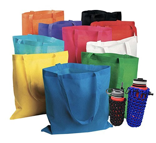 "50 Bulk Tote Bag Mega Pack - 15"" x 16"" Large Reusable Shopping Bags (Multicolor) (Multi)"